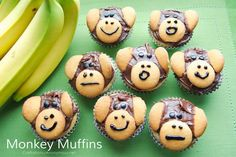Last month I guest posted over at the Crafting Chicks and shared these adorable {and super easy!} Monkey Banana Muffins as part of their summer series for kids. The theme was 'Rainforest' and I was supposed to come up with a snack idea. So here is a Cute Snacks, Cute Food, Yummy Food, Ripe Banana Recipe, Banana Bread Recipes, Bee Crafts, Food Crafts, Kids Crafts, Monkey And Banana