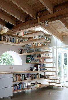 Book shelves along staircase