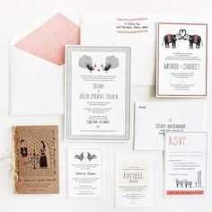 peacock and sheep stationary  Oh So Beautiful Paper: Seema + Joseph's Whimsical Illustrated Wedding Invitations