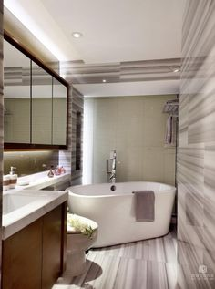 Contemporary Asian Style  In Modern Bathroom Interior Decor With Wooden Vanity Single Sink And Mirror On The Wall As Well Bathtub Corner And Striped Paint Wall Contemporary Asian Style Home It's Related With Nature Home design