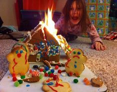 Ginger Bread House Fire Funny Christmas Photos Awkward Family Christmas Card ideas Pics Pictures Strange Family Holiday
