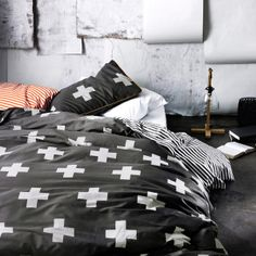 AURA Home, Winter Crosses Quilt Cover in Charcoal. A must for Samuels big boy bedroom ❤ Dream Bedroom, Home Bedroom, Bedrooms, Bedroom Ideas, Master Bedroom, Teen Bedroom, Bedroom Inspiration, Master Suite, Queen Bed Quilts