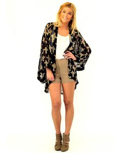 Bless Your Heart Navy Wrap with Cross Print - Lotus Boutique