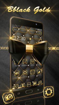 Luxury black and gold bow tie wallpaper and icon pack. Gold Bow Tie, Icon Pack, Live Wallpapers, Google Play, Cool Style, Boss, Character Design, Monogram