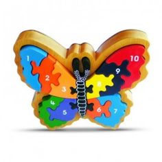 This colorful puzzle makes a great gift.  It looks gorgeous sitting on a shelf when it's not being played with. This is a hand me down puzzle that will last many generations. ARTIWOOD - 1-10 BUTTERFLY FRAME PUZZLE
