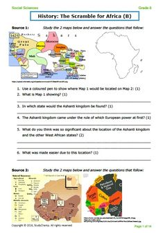 An application assessment on the scramble for Africa including slavery. Geography Test, Social Studies Worksheets, Exam Papers, Social Science, Assessment, Maps, Braids, Africa, How To Apply