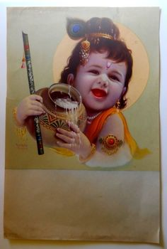 India Vintage Calendar Print Hindu God Bal Krishna with Butter #gngp224