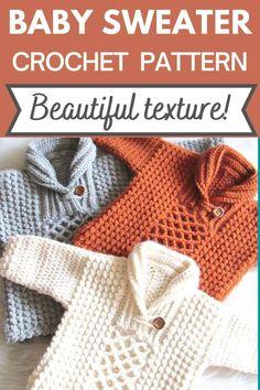 Boy Crochet Patterns, Crochet Baby Sweater Pattern, Crochet Baby Sweaters, Crochet Baby Clothes, Baby Knitting, Crochet Baby Jacket, Crochet For Boys, Knit Or Crochet, Crochet Stitches