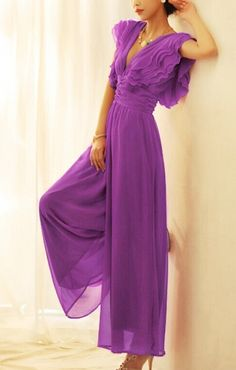Purple chiffon jumpsuit. I have no idea for what or where I'd wear it, but darn if I wouldn't find a reason to wear it! ~ <3 Michelle M