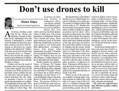 """Harun Yahya's new piece on Pakistan Observer """"Don't use drones to kill"""" http://epaper.pakobserver.net/201503/28/comments-2.php … #Yemen #Afghanistan"""