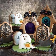 Adorei esses Cookies para o tema Halloween que vi no @umbocadinhodeideias ! #loucaporfesta  #loucaporfestas  #loucasporfestas  #cookies #biscoitosdecorados