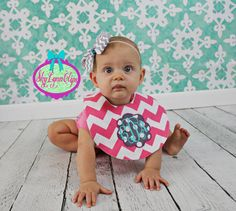 Monogrammed Chevron Baby/Toddler Reversible by SkyLynnClips, $15.00