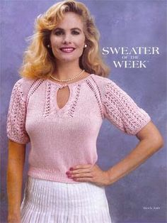 SoW Pink Lace Keyhole sweater - FREE pattern | Knitting Fever