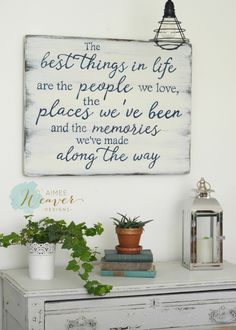 The best things in life are the people we love, the places weve been and the memories weve made along the way  Unique hand-painted sign made from reclaimed barn wood, comes ready to hang with sawtooth hangers on the back. Please keep in mind that because this sign is made from reclaimed barn wood, no two will ever be alike, and it will not look exactly like the photo.  Measures approx. 24h x 30w CURRENT LEAD-TIME UNTIL SIGN IS READY TO SHIP: 4 WEEKS Sign is shown in white wood with navy…