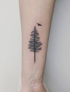 ideas for pine tree tattoo sternum - My list of the most creative tattoo models Tree Tattoo Arm, Pine Tree Tattoo, Sternum Tattoo, Tattoo Ribs, Tree Tattoo Meaning, Finger Tattoos, Hand Tattoos, Small Tattoos, Tattoos For Guys