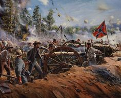 """Thunder on Little Kennesaw "". An Alabama battery defends Kennesaw Mountain against Sherman's Army during the Atlanta Campaign. - Don Troiani"