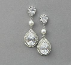 Bridal teardrop drop earrings, Wedding crystal pearl earrings ,wedding jewelry , vintage wedding jewelry- Style 539 on Etsy, $53.00