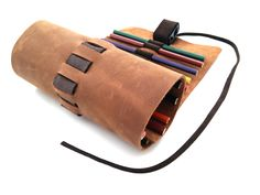 Large Leather Sketching, Leather pen roll, 20 Pencils case, Leather wrap, Pencil pouch, Pen sleeve, Artist roll by Sandalimshop on Etsy