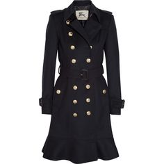 Burberry London Wool and cashmere-blend trench coat (¥120,265) ❤ liked on Polyvore featuring outerwear, coats, jackets, coats & jackets, trench coat, blue, blue coat, blue double breasted coat, burberry trenchcoat and wool trench coat