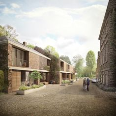 Duggan Morris wins go-ahead for 'new concept for retirement living' Social Housing Architecture, Co Housing, Brick Architecture, Architecture Visualization, Sustainable Architecture, Brick Rendering, Duggan Morris, Urban Village, Modern Townhouse