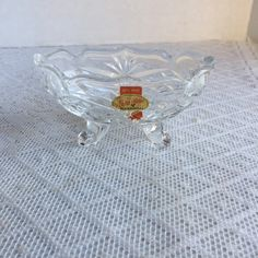 Vintage Cut Glass Candy Dish / Leaded Crystal Footed Bowl by Anna Hutte / Made in Germany by vintagepoetic on Etsy
