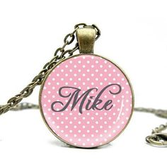 Light Pink & Poka Dot custom name pendant Personalized Products, Personalized Necklace, Coin Purse, Fashion Jewelry, Dots, Pendant, Creative, Pink, Shopping