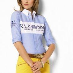 6845d51e0b01a para Femme Chemisier de coton en Bleu Blanc Polo T Shirts, Shirt Blouses,