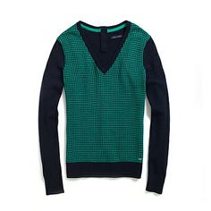 HOUNDSTOOTH V-NECK SWEATER NAVY EMERALD-TOMMY HILFIGER