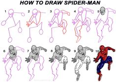 How to Draw Spider ManStep by Step Drawing Tutorial with Pictures | Cool2bKids
