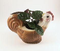 Vintage Chicken Planter, Hen, Rooster Vase, 1940s Kitchen Farm House Decor by BarnabyGlenVintage on Etsy