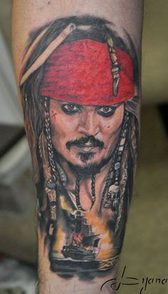 What does jack sparrow tattoo mean? We have jack sparrow tattoo ideas, designs, symbolism and we explain the meaning behind the tattoo. Movie Tattoos, 3d Tattoos, Disney Tattoos, Tatoos, Portrait Tattoos, Jack Tattoo, Jack Sparrow Tattoos, Johnny Depp Tattoos, Deep Tattoo