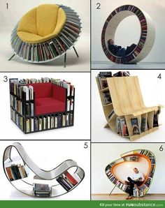 For bookworms out there, choose your chair... Ok previous pinner. Challenge accepted. I would pick #1 cuz it looks like you can fit more than 1 book in each shelf, it looks very sturdy and houses the books well, and if I were to spend hours upon hours reading - like usual - it looks like the comfiest one that I could sit in the longest. :)