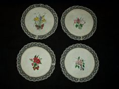 4 Victorian Edwardian Hand Painted Botanical Flower Doily Rounds Lace Trim
