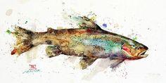Watercolor Fish, Butterfly Watercolor, Watercolor Trees, Watercolor Paintings, Original Paintings, Watercolor Paper, Rooster Painting, Boat Painting, Fish Print