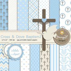Boy Baptism Digital Papers Cross Dove Clipart por JennyLDesignsShop
