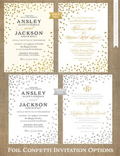 Foil-pressed Custom Wedding Invitations, you choose color and font / Confetti in Gold Foil, Silver Foil or Rose Gold Foil