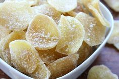 how to make homemade crystallized ginger recipe candied Sweet Recipes, Snack Recipes, Dessert Recipes, Cooking Recipes, Snacks, Yummy Recipes, Candied Lemon Peel, Candied Orange Peel, Candied Fruit