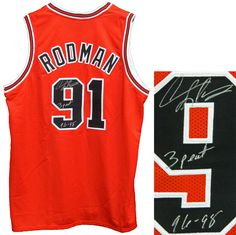 ff2faadd3 Dennis Rodman Signed Chicago Bulls Red Throwback Custom Basketball Jersey  w 3 Peat 96-98 - Schwartz COA