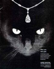 1948 Ad Harry Winston Black Cat Pendant Teardrop Diamond Jewelry Necklace Eyes