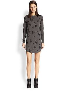 360 Sweater Dexter Cashmere Skull-Print Sweaterdress at Saks.