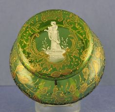 Dazzling Large Moser Bohemian Green Crystal Hinged, Powder/Dresser Jar With Hand Painted Flowers And Gilt Accents  c.1880