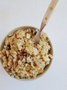 receta de como hacer arroz con pollo, champiñones y calabacín