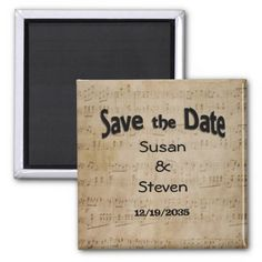 Save the Date Music Theme 2 Inch Square Magnet