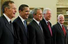 Living Presidents - George Bush, Barack Obama, George Bush, Bill Clinton, and Jimmy Carter