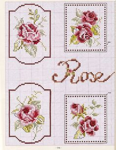 Cross-stitch Framed Roses, part 1.. color chart on part 2... Gallery.ru / Фото #4 - цветики - Ritusya