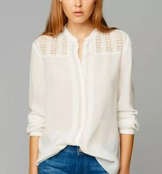 Women Elegant Casual Embroidered Blouse, White, Long Sleeved