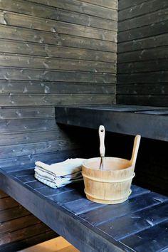 mökkiremontti sauna Sauna Steam Room, Finnish Sauna, Saunas, New Homes, Birches, Finland, Spa, Bathroom, Places