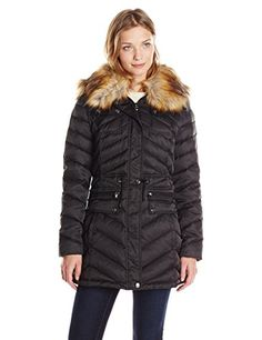 5cbdd12a2e Laundry Womens Anorak Down Coat with Faux Fur Hood Black Large    Want to  know
