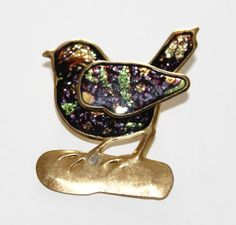 Sparkly Foil & Gold Coloured Bird Brooch (c1950s) by GillardAndMay on Etsy