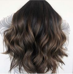 Black Coffee Hair With Ombre Highlights - 10 Cool Ideas of Coffee Brown Hair Color - The Trending Hairstyle Brown Hair Balayage, Brown Blonde Hair, Brown Hair With Highlights, Light Brown Hair, Brunette Hair, Bayalage Black Hair, Black Hair Dye, Brunette Highlights, Caramel Balayage Brunette